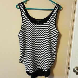 Chevron sleeveless blouse